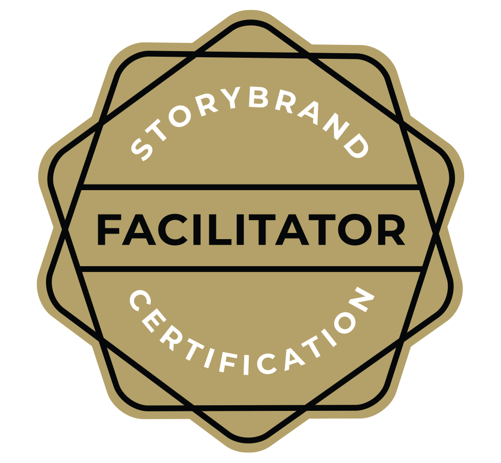 This image has an empty alt attribute; its file name is Web-StoryBrand-Facilitator-Badge.png